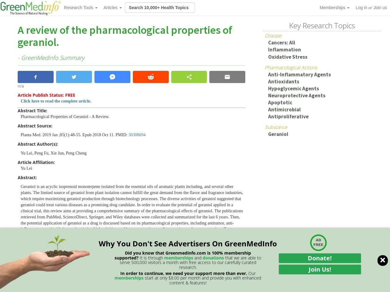 A review of the pharmacological properties of geraniol.