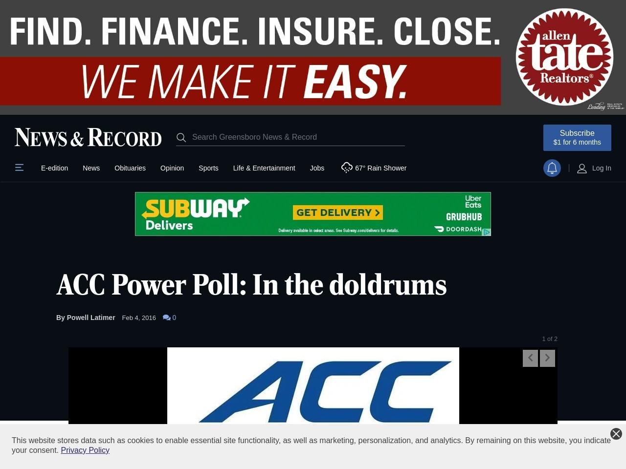 ACC Power Poll: ACC Doldrums