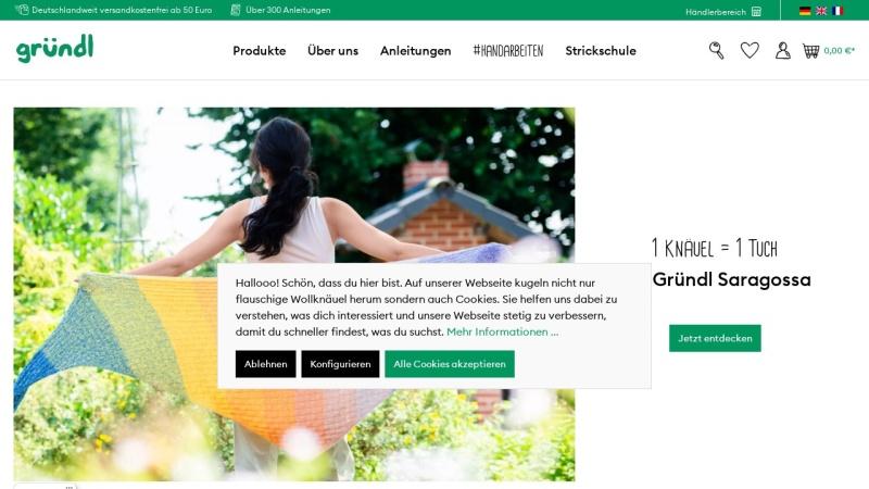 www.gruendl-wolle.de Vorschau, Firma Max Gründl