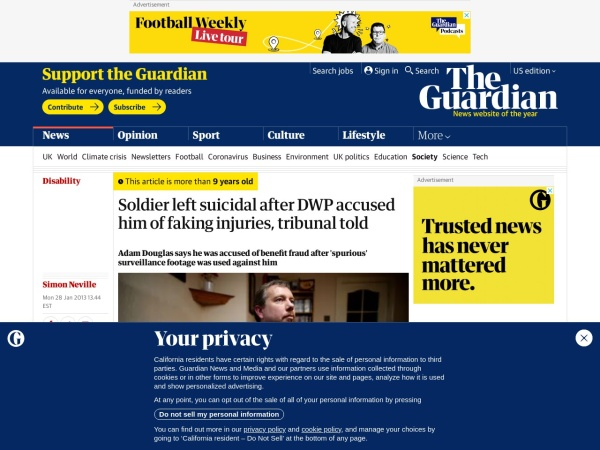 http://www.guardian.co.uk/society/2013/jan/28/soldier-suicidal-faking-injuries-tribunal