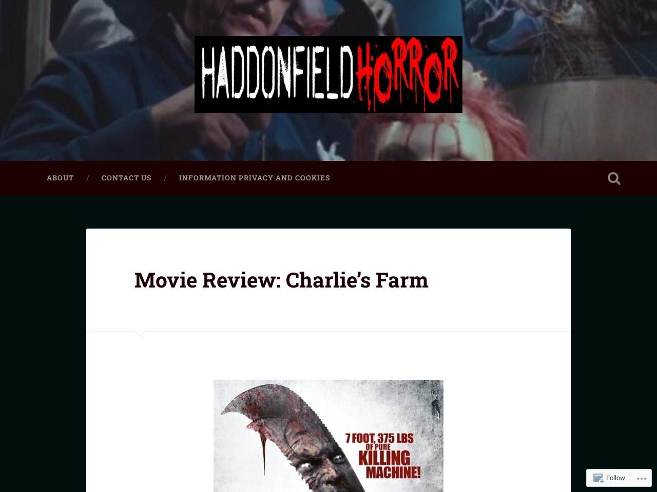 Haddonfield Horror: Movie Review: Charlie's Farm