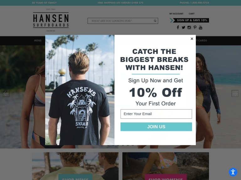 Hansen Surfboards screenshot