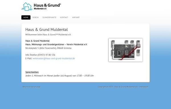 Vorschau von www.haus-und-grund-muldental.de, Haus-, Wohnungs- und Grundeigentümerverein Muldentalkreis e.V.