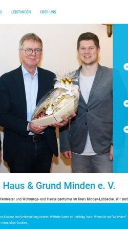 Vorschau der mobilen Webseite www.hausundgrund-mi.de, Haus und Grund Minden e.V.