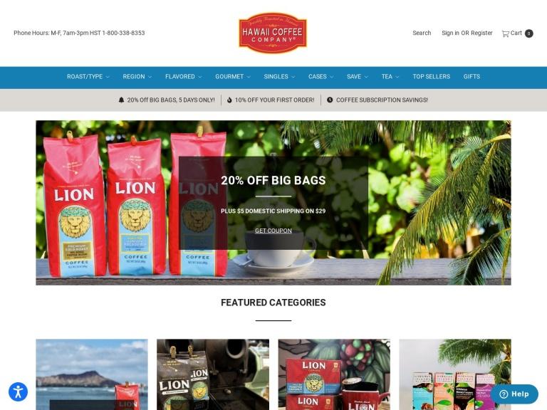 Hawaii Coffee Company screenshot