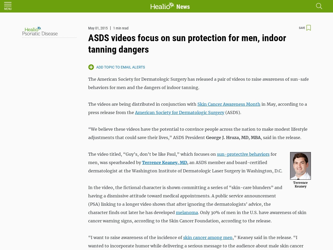 ASDS videos focus on sun protection for men, indoor tanning dangers