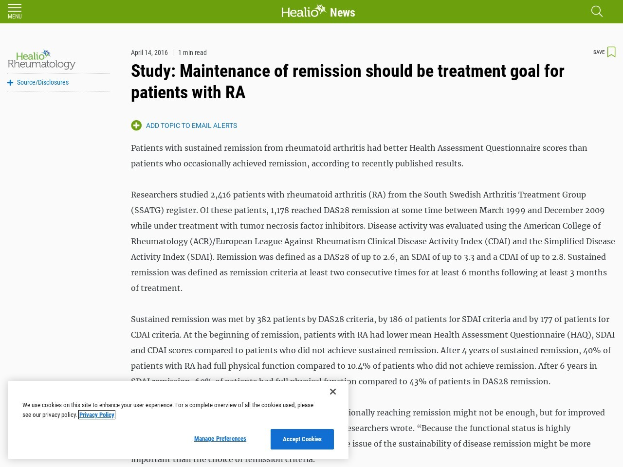 Study: Maintenance of remission should be treatment goal for patients with RA