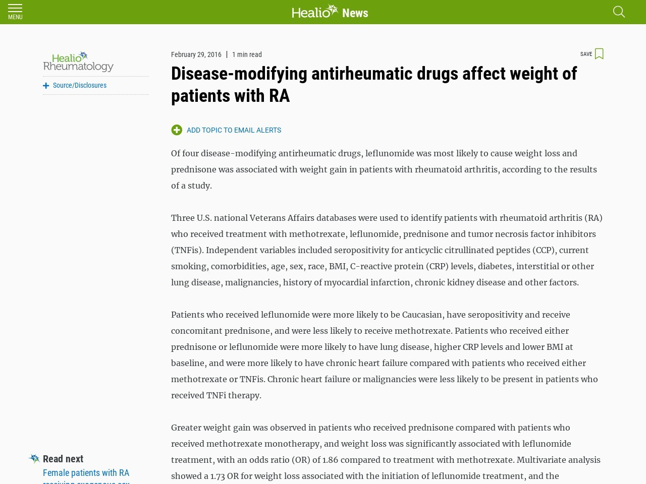 Disease-modifying antirheumatic drugs affect weight of patients with RA