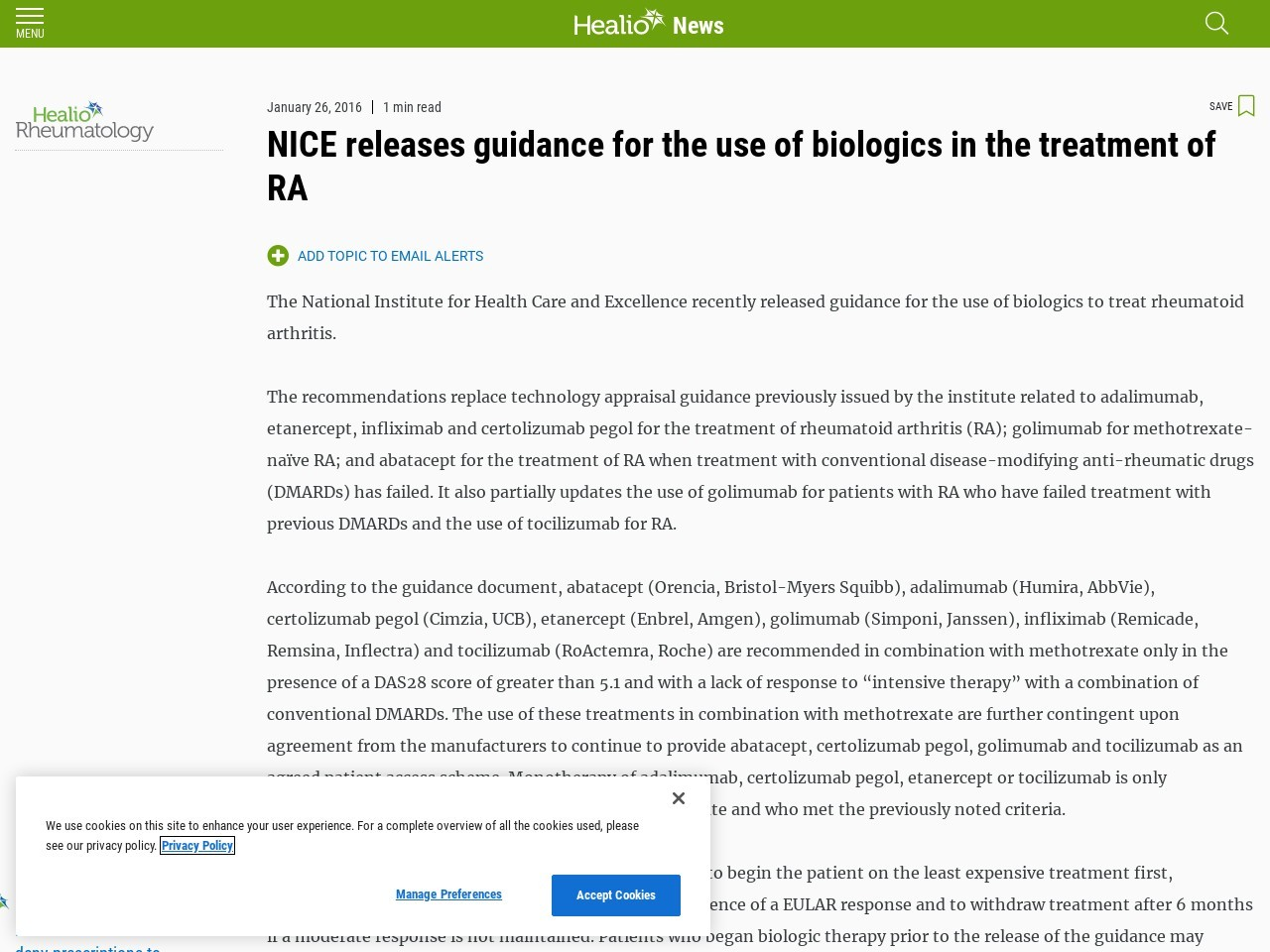 NICE releases guidance for the use of biologics in the treatment of RA