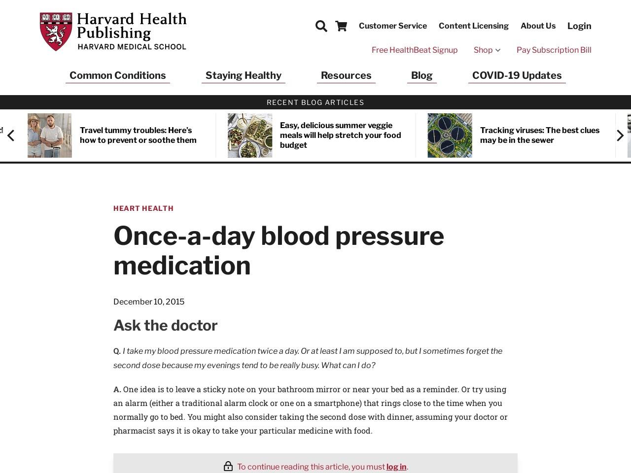 Once-a-day blood pressure medication
