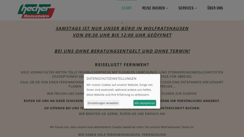 www.hecher-reisen.de Vorschau, Reisebüro Hecher