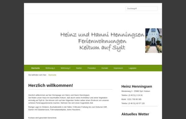 Vorschau von www.henningsen-ferienwohnungen-sylt.de, H. & H. Henningsen