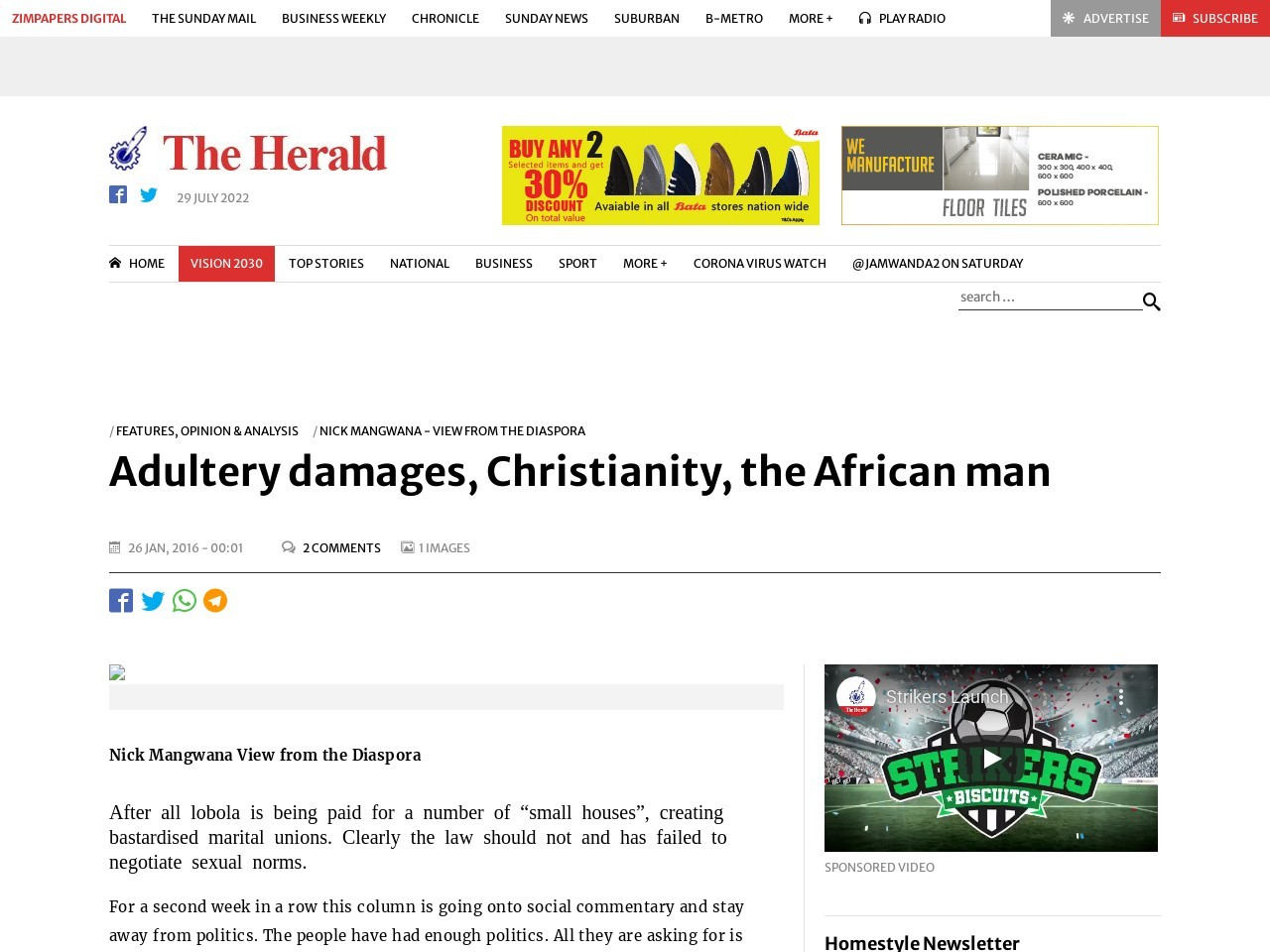 Adultery damages, Christianity, the African man