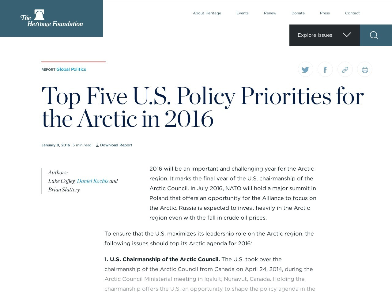 Top Five U.S. Policy Priorities for the Arctic in 2016