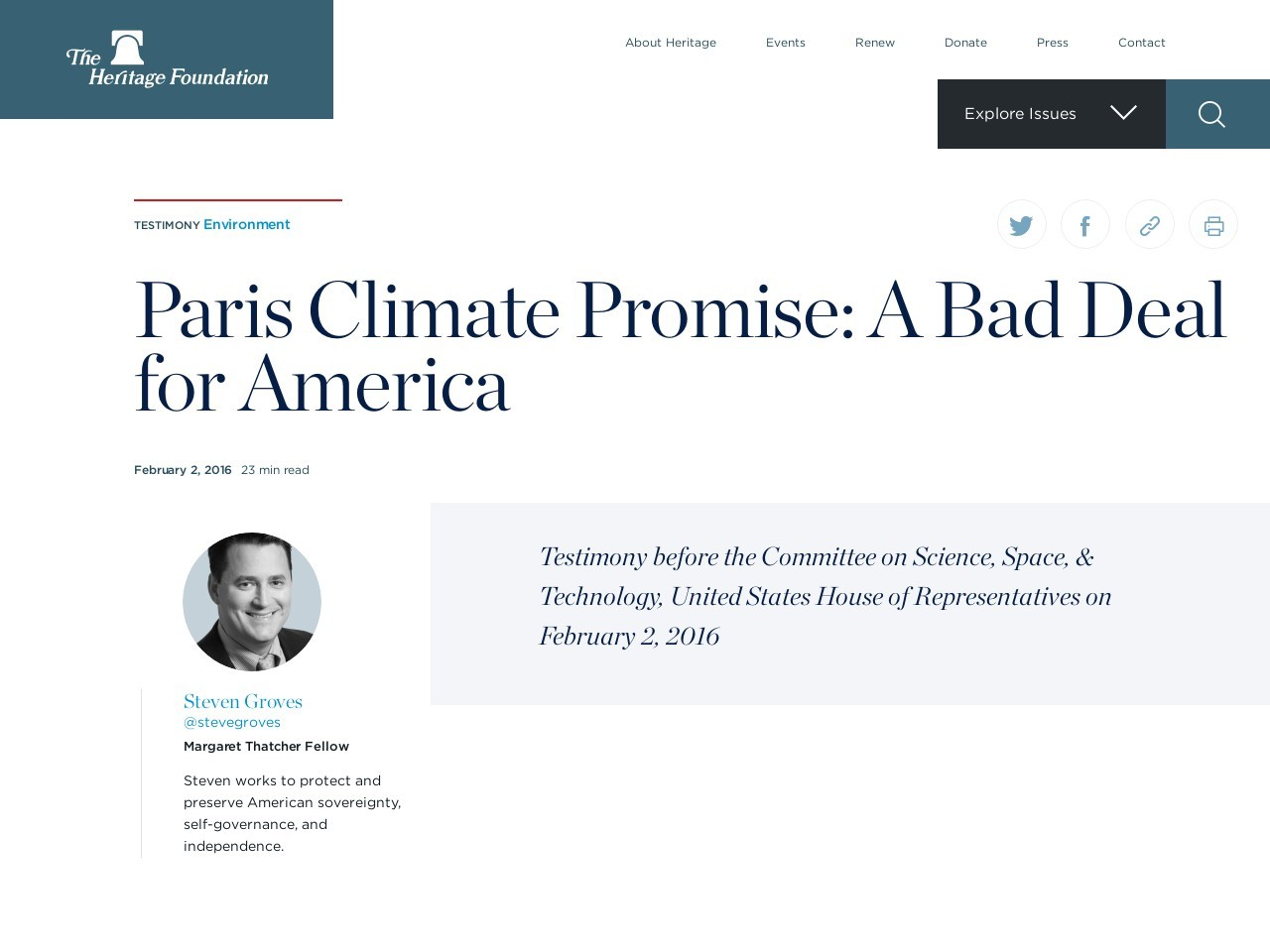 Paris Climate Promise: A Bad Deal for America