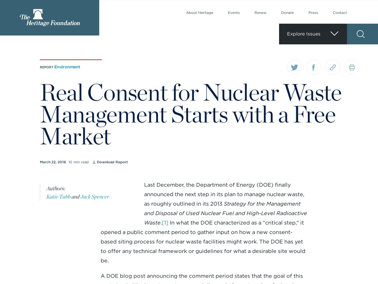 Real Consent for Nuclear Waste Management Starts with a Free Market