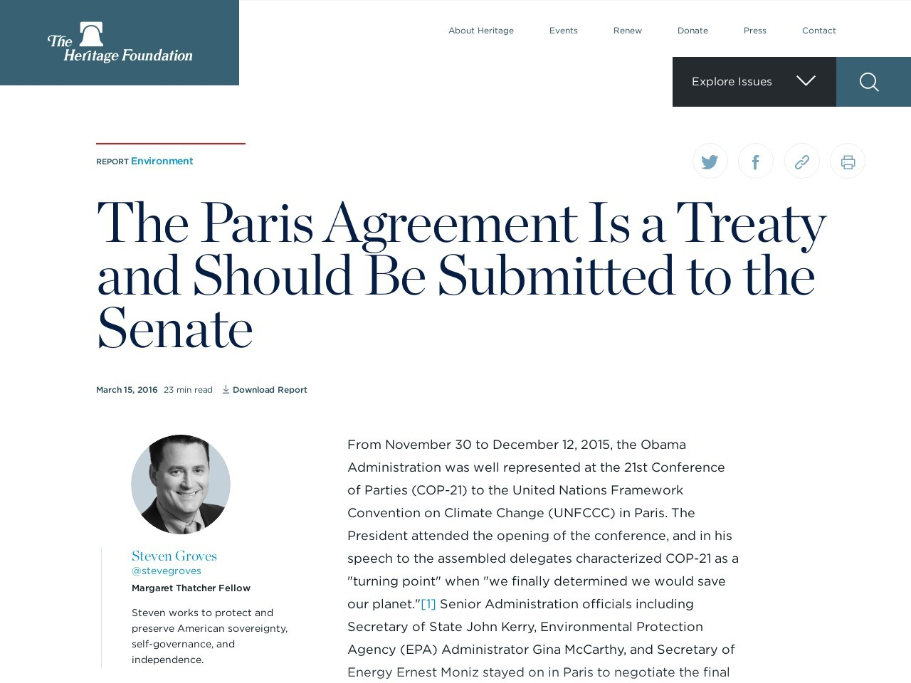 The Paris Agreement Is a Treaty and Should Be Submitted to the Senate