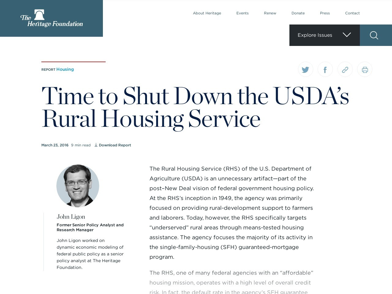 Time to Shut Down the USDA's Rural Housing Service