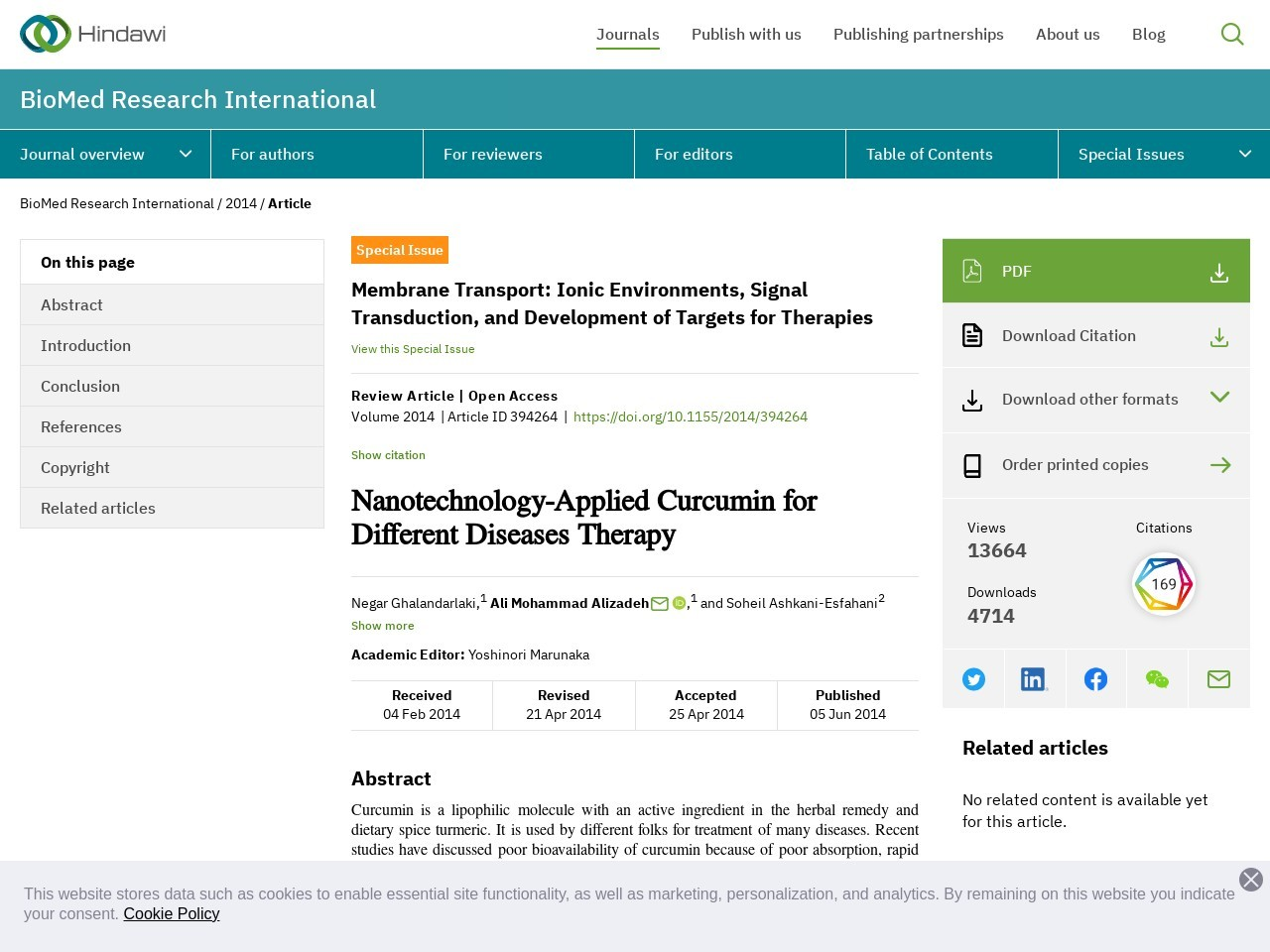 Nanotechnology-Applied Curcumin for Different Diseases …