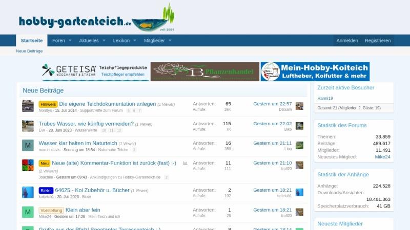 www.hobby-gartenteich.de Vorschau, Hobby-Gartenteichforum