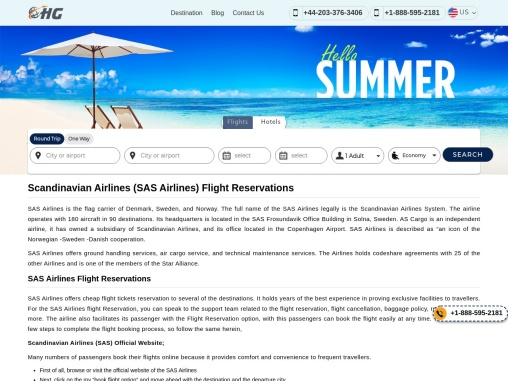 SAS Airlines Flight Reservations +1-888-595-2181