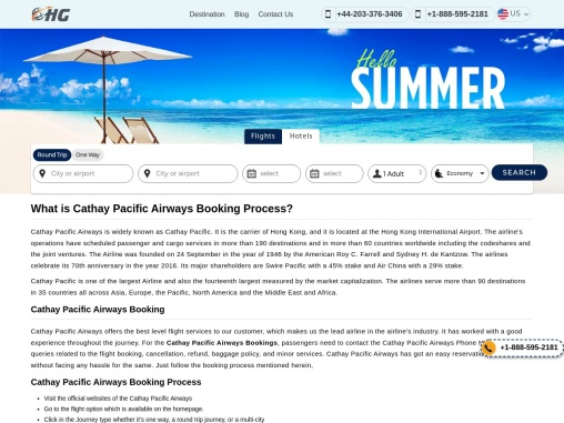 Cathay Pacific Booking Process