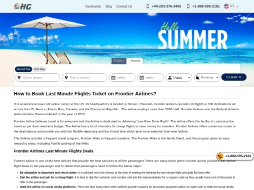 Frontier Airlines Last Minute Flights Deals +1-888-595-2181