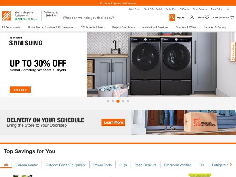 Home Depot screenshot