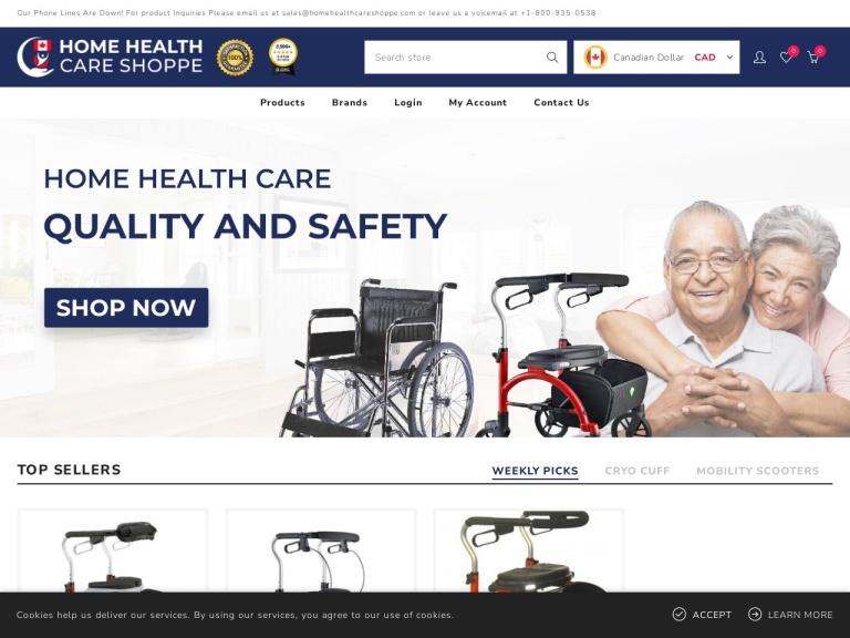 HomeHealthCareShoppe.com screenshot