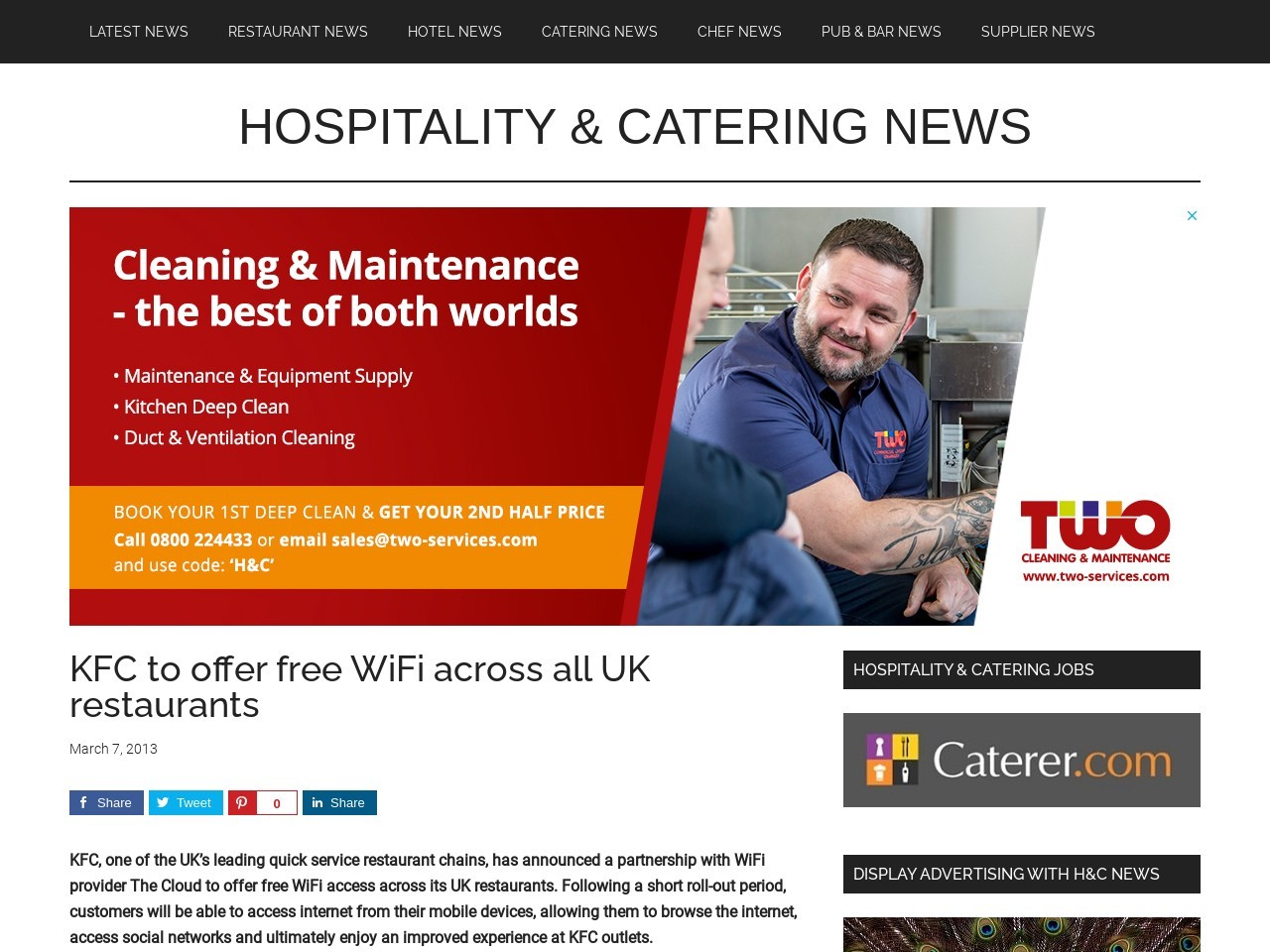 KFC to offer free WiFi across all UK restaurants » Hospitality And …