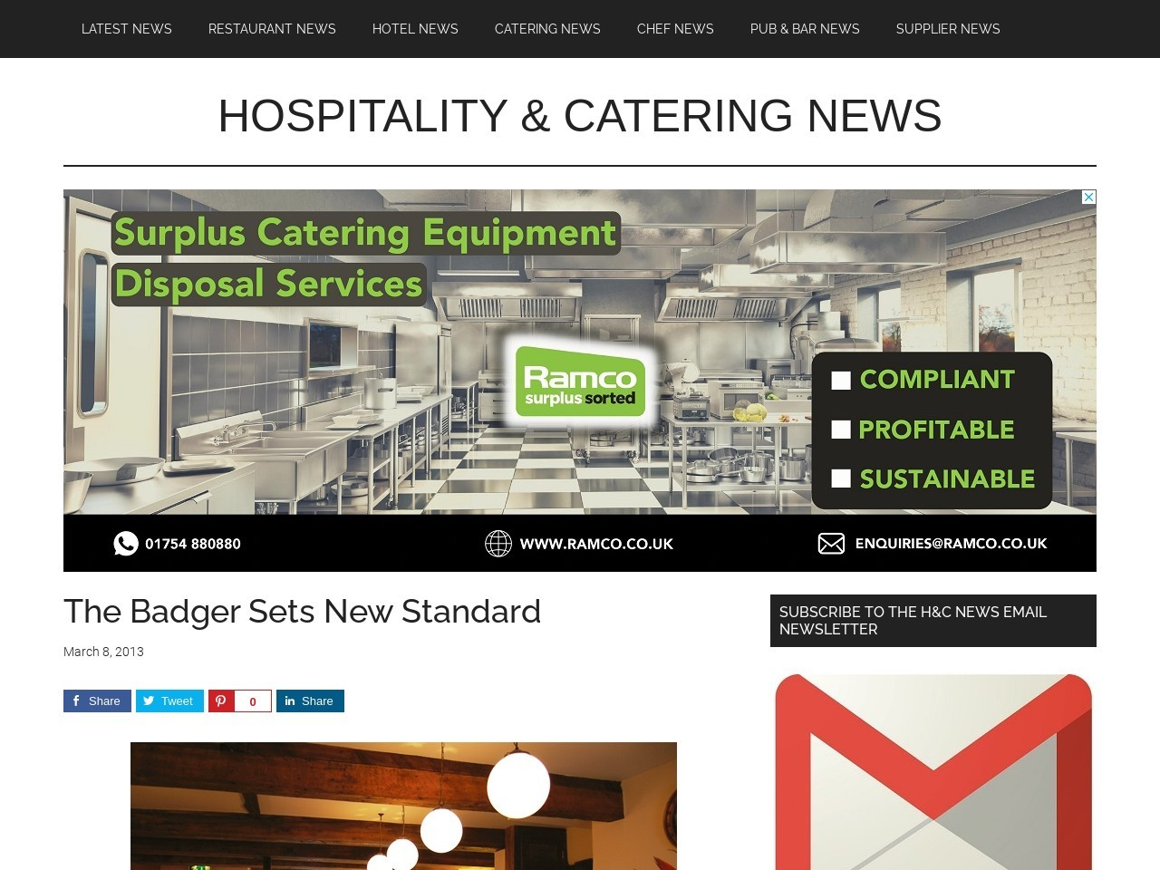 The Badger Sets New Standard » Hospitality And Catering News