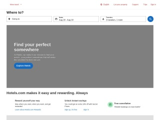 Screenshot do site hotels.com