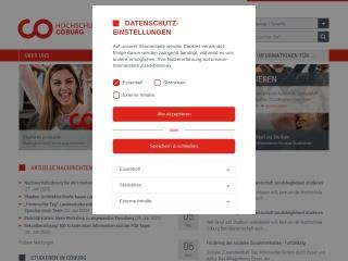 Screenshot der Website hs-coburg.de