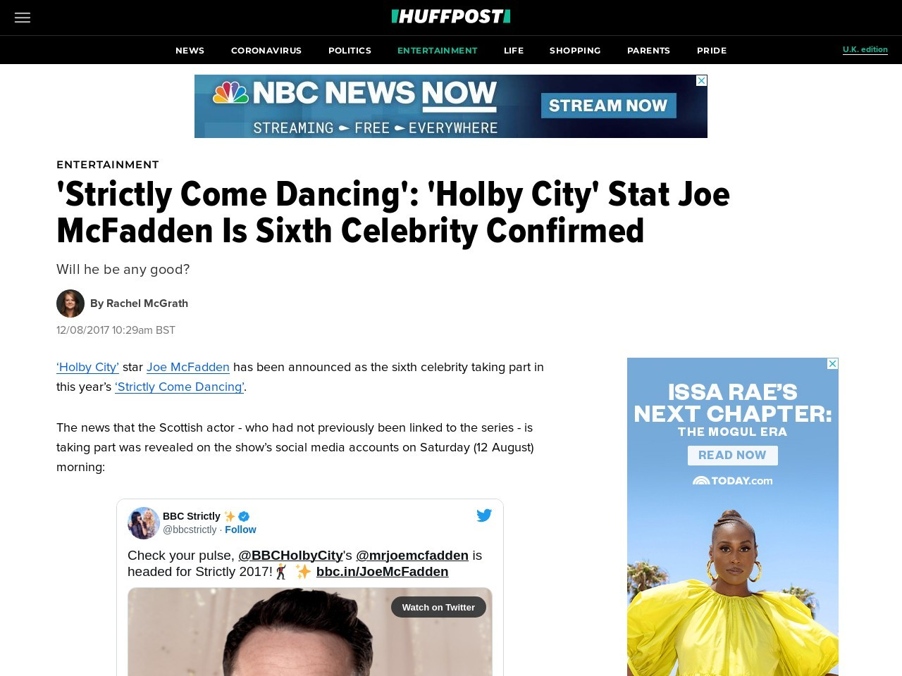'Strictly Come Dancing': 'Holby City' Stat Joe McFadden Is Sixth Celebrity Confirmed