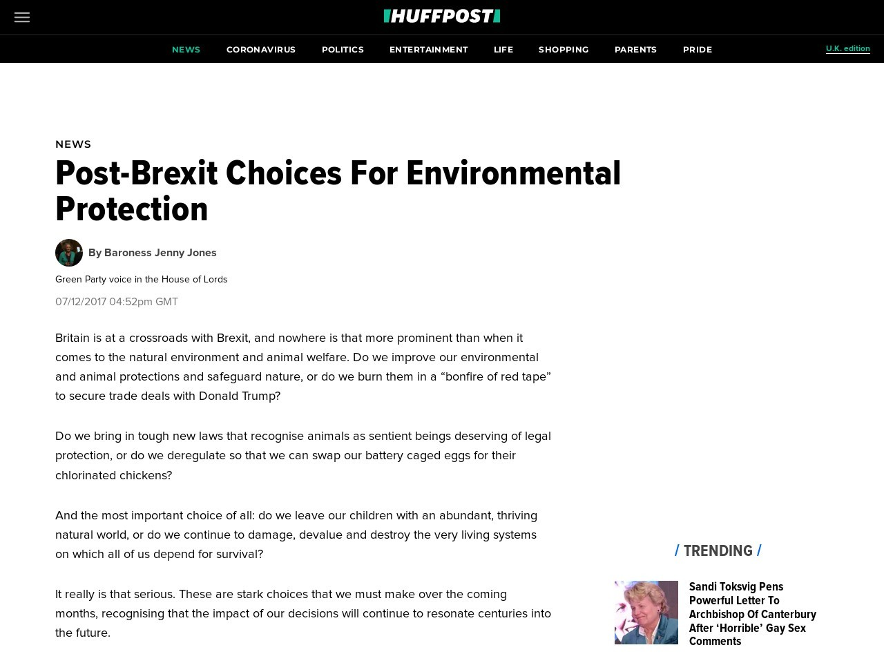 Post-Brexit Choices For Environmental Protection