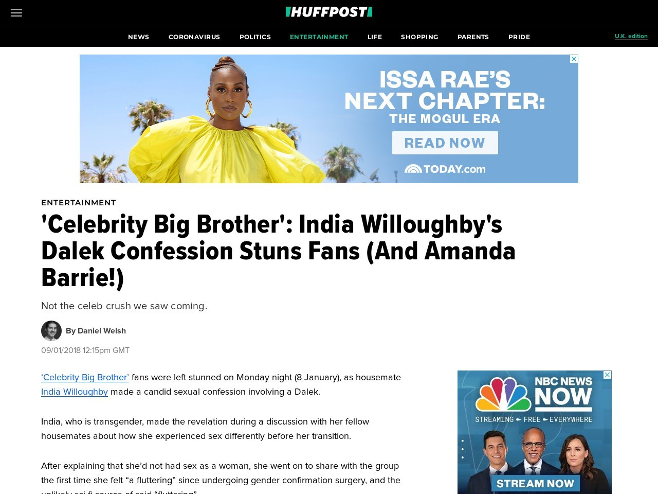 'Celebrity Big Brother': India Willoughby's Dalek Confession Stuns Fans (And Amanda Barrie!)