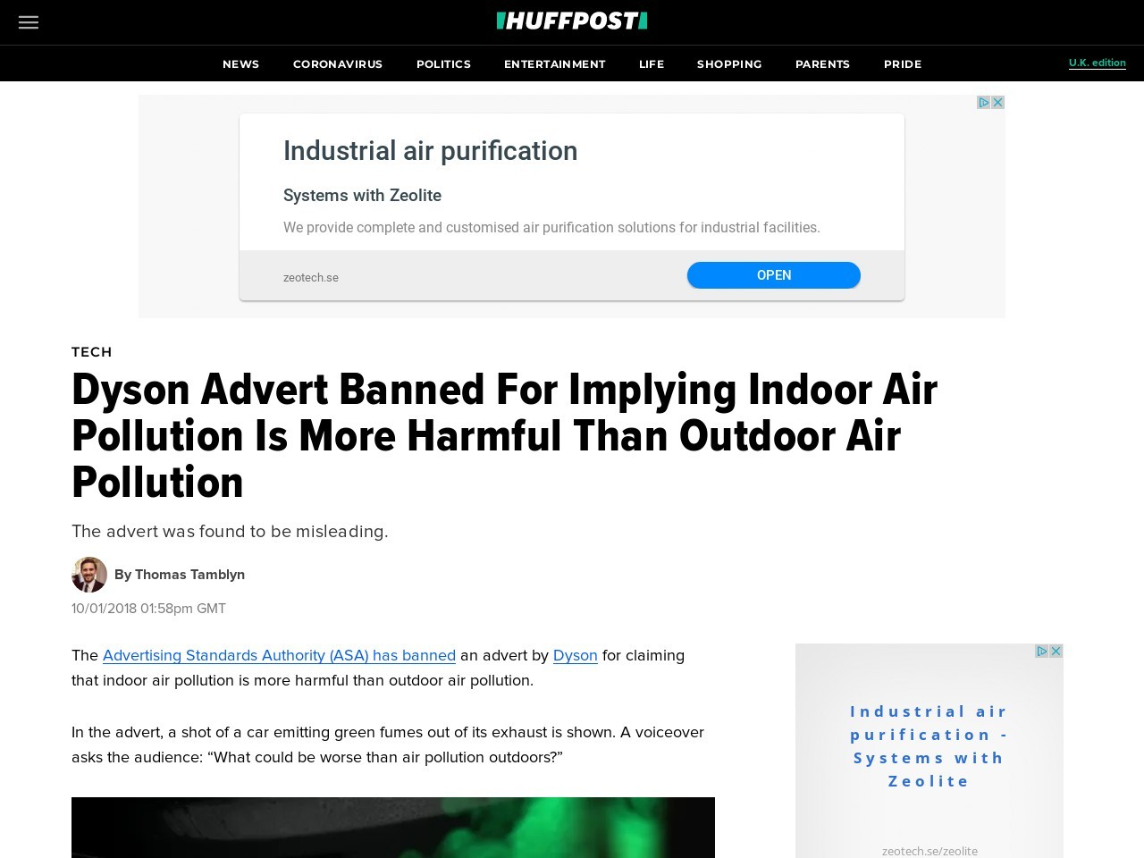 Dyson Advert Banned For Implying Indoor Air Pollution Is More Harmful Than Outdoor Air Pollution