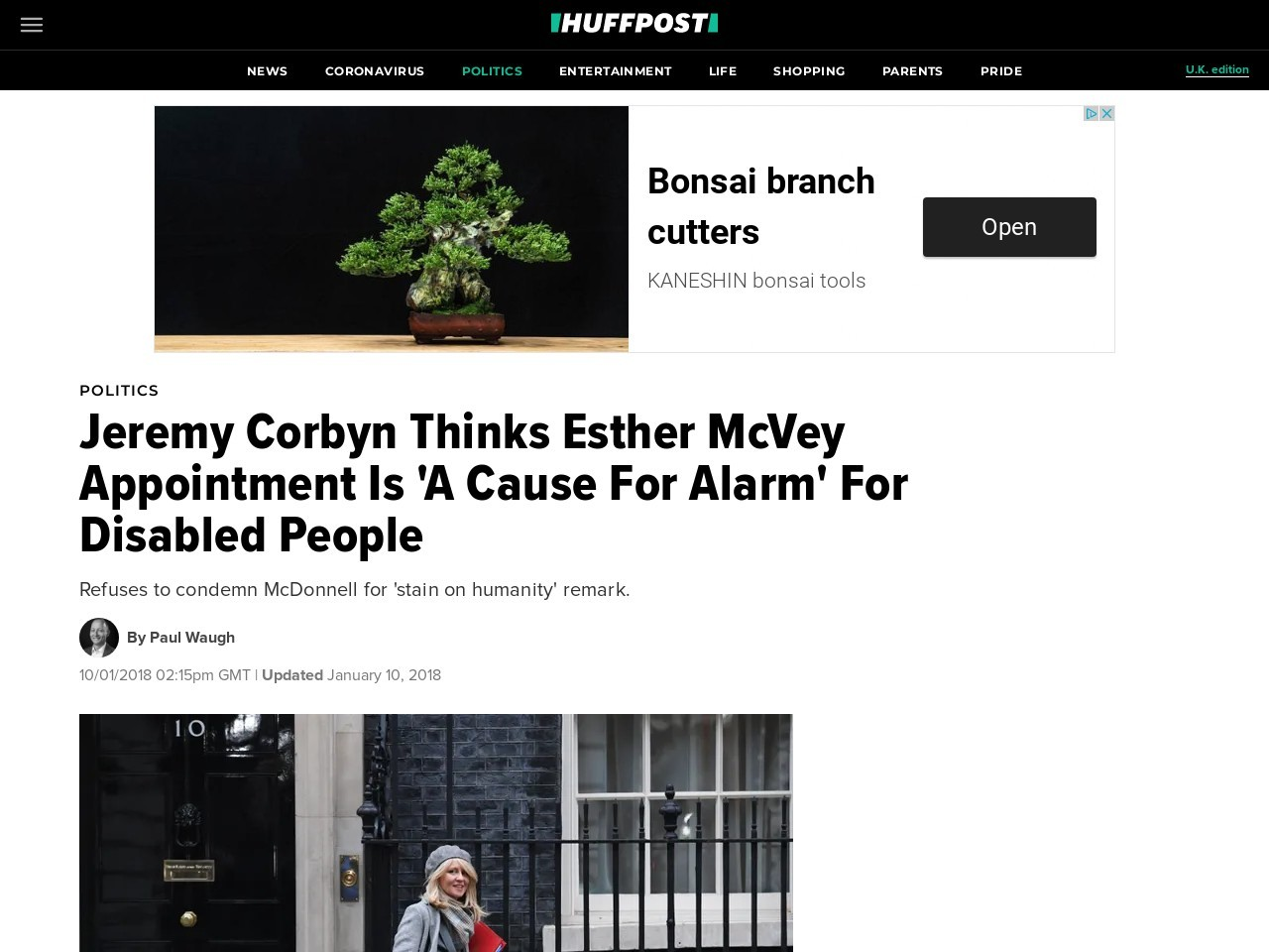 Jeremy Corbyn Thinks Esther McVey Appointment Is 'A Cause For Alarm' For Disabled People