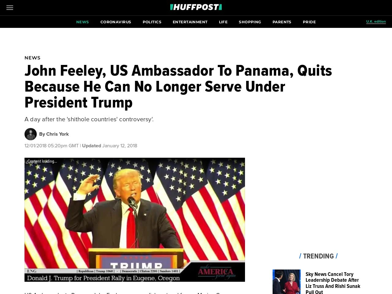 John Feeley, US Ambassador To Panama, Quits Because He Can No Longer Serve Under President Trump