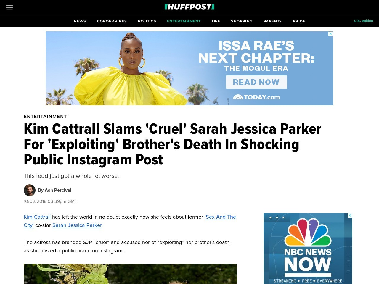 Kim Cattrall Slams 'Cruel' Sarah Jessica Parker For 'Exploiting' Brother's Death In Shocking Public Instagram Post