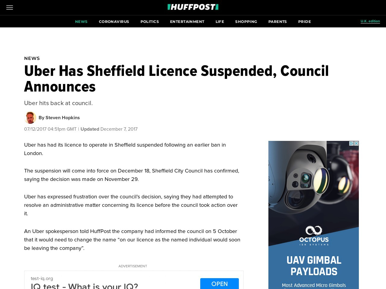 Uber Has Sheffield Licence Suspended, Council Announces