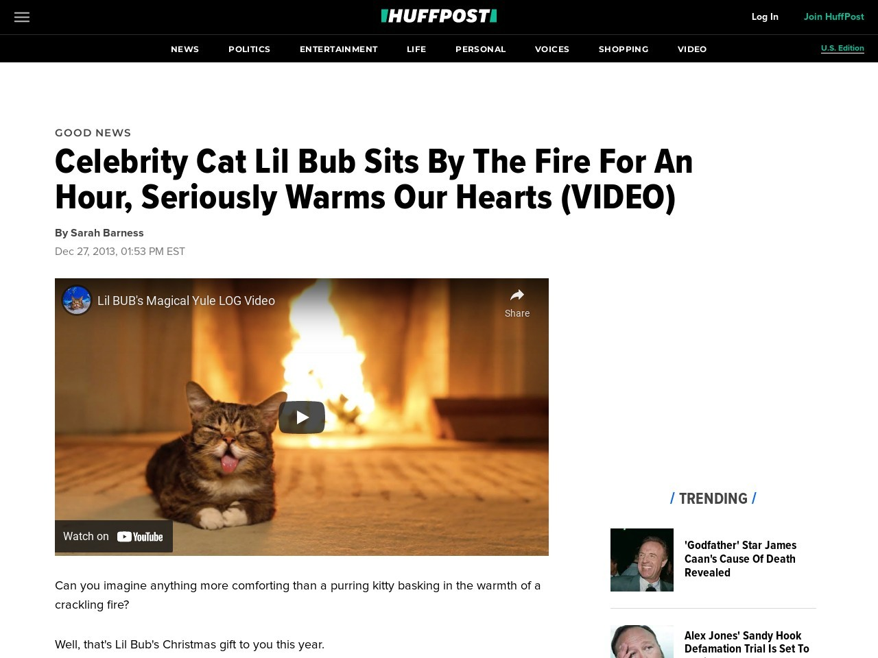 Celebrity Cat Lil Bub Sits By The Fire For An Hour, Seriously Warms Our Hearts …
