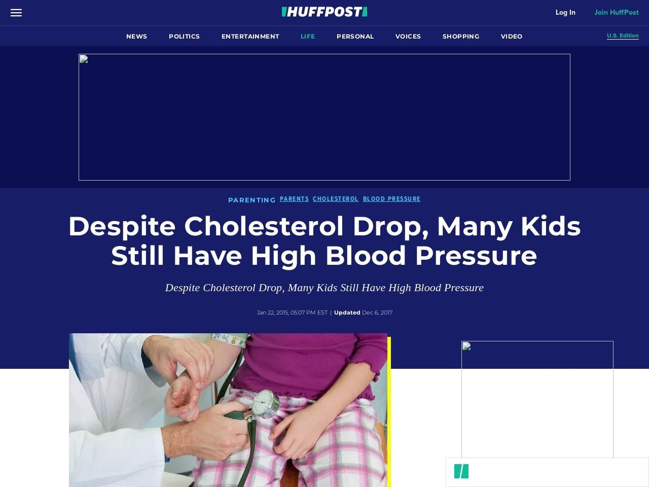 Despite Cholesterol Drop, Many Kids Still Have High Blood Pressure