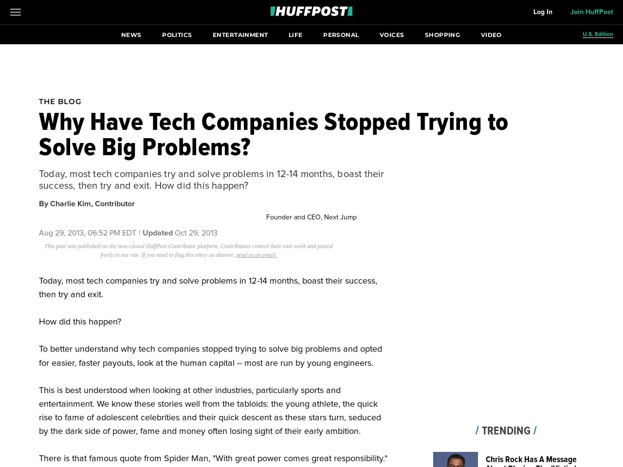 Why Have Tech Companies Stopped Trying to Solve Big Problems?