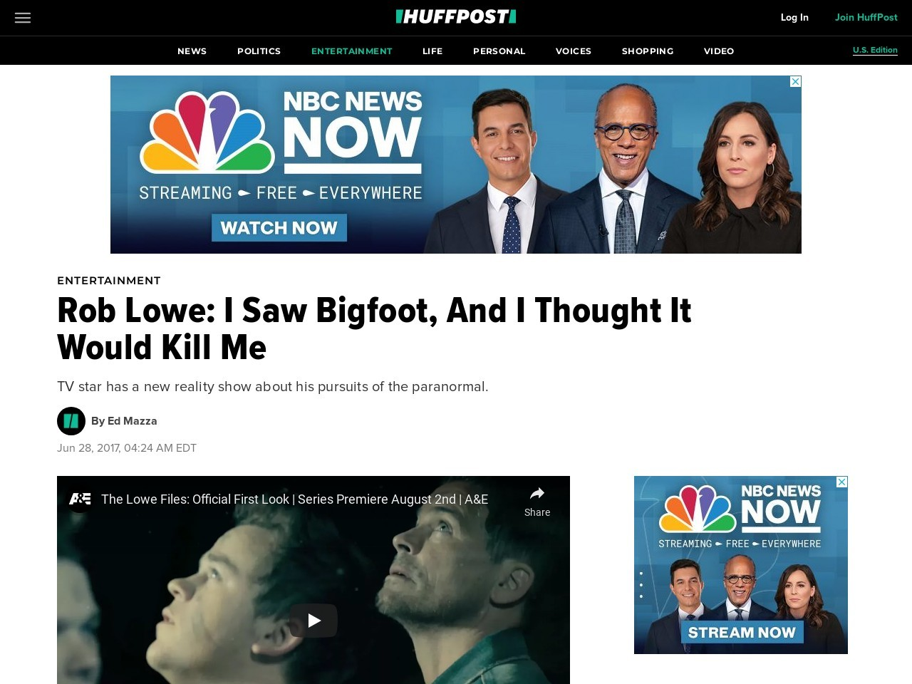 Rob Lowe: I Saw Bigfoot, And I Thought It Would Kill Me – Huffington Post