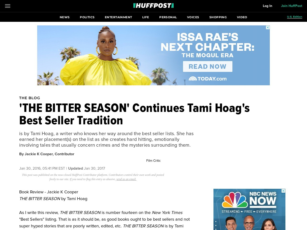'THE BITTER SEASON' Continues Tami Hoag's Best Seller Tradition