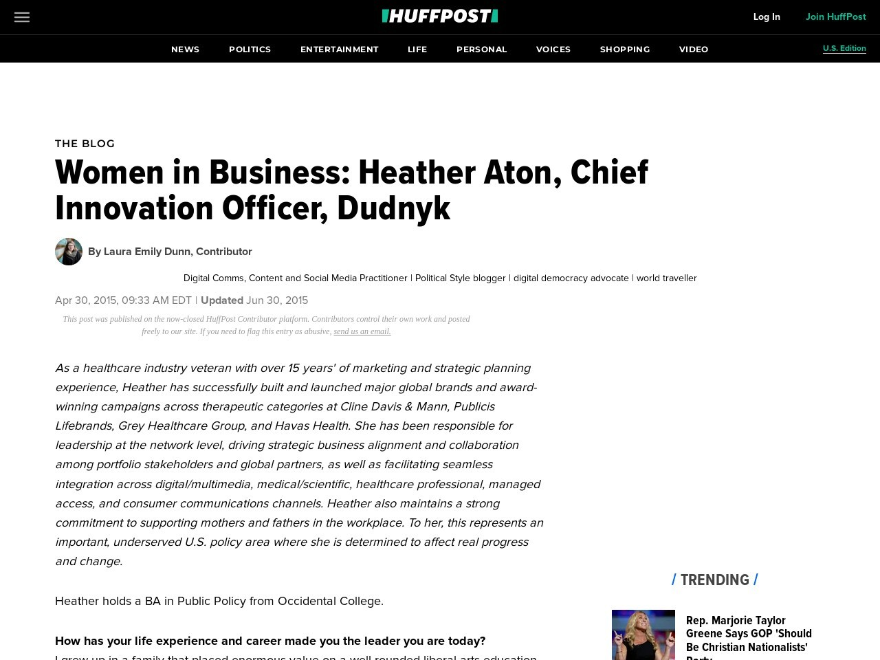 Women in Business: Heather Aton, Chief Innovation Officer, Dudnyk