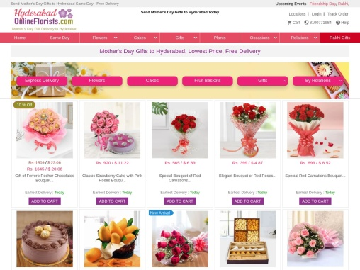 Lovely Mother's Day Gifts to Hyderabad can now be sent Online at a Low Cost & Same Day.