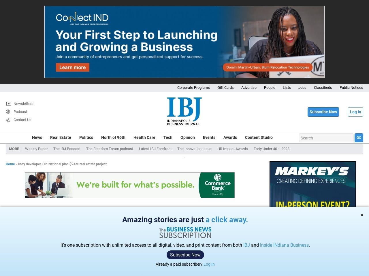 Indy developer, Old National plan $24M real estate project