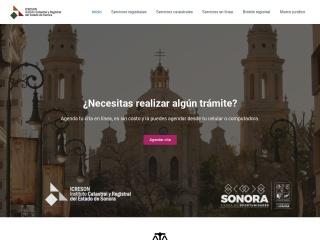 Captura de pantalla para icreson.gob.mx